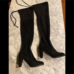 Over the knee black suede heeled boots